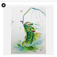 bass fishing one of my largemouth watercolor paintings