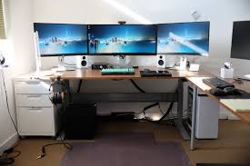 lovely home office setup. Adorable Triple Monitor Desk Setup Ikea Gaming Computer With Drawer Also Monitors Lovely Home Office D