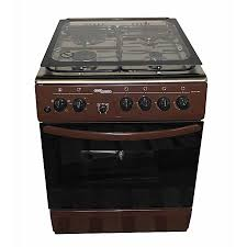 super general sgc6470brn electric cooker 60x60 with 3 gas burners 1 hot plate stainless steel with tempered glass top brown