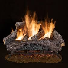 charred river oak vented natural gas log set
