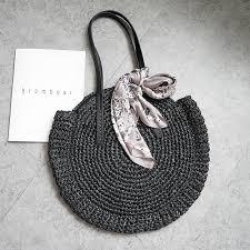 2019 new <b>round straw bag beach bag woven</b> large capacity single ...
