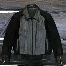 details about philipp plein men s black real python leather genuine suede exotic skin jacket