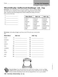 Word Study - Inflected Endings -ed, -ing Worksheet for 5th Grade ...