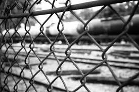 barbed wire fence prison. Download Barbed Wire Fence. Prison Fence In Black And White Closeup. Stock Image -