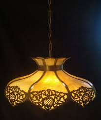 antique arts crafts nouveau slag glass shade hanging light fixture