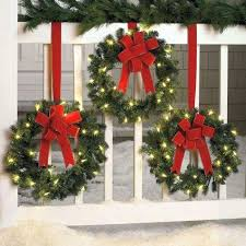 Lighted Garland For Front Door Wreath And Decor With Blue Bubbles Decoration Red Bow Porch Fences Attractive