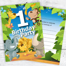 Jungle Theme Birthday Invitations 1st Birthday Party Jungle Themed Animal Invitations Ready To Write With Envelopes Pack 10
