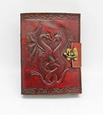 fantasy gifts 2287 leather embossed double dragon journal with lock