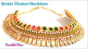How To Make Designer Necklace How To Make Bridal Choker Necklace Designer Necklace Diy Choker Home Made Jewellery Beautiful Ideas