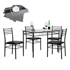 vecelo dining table set gl table with 4 chairs metal kitchen room furniture 5 pcs