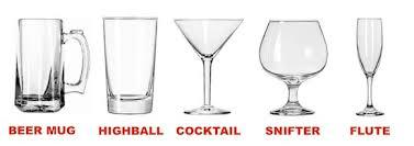 Drinking Glasses: Mug, Highball, Cocktail, Martini, Snifter, Flute