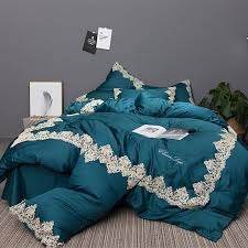 dark teal blue and white embroidered gothic border vintage shabby chic victorian lace luxury villa full queen size bedding sets