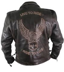 men s premium distressed retro brown embossed eagle leather jackets
