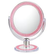 makeup mirror. double-sided free standing magnified makeup bathroom mirror pink bling - aptations