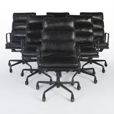 office leather chair. Original Vintage Set (6) Herman Miller EA219 Black Leather Chair Soft Pad Office I