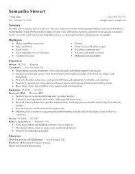 restaurant resume objective server resume objective server resume example best servers resume