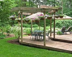 wooden garden patio with gazebo