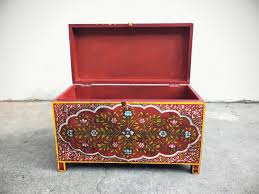 vintage 28 wide painted wood chest red console table or small coffee table storage trunk