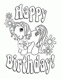 Small Picture My Little Pony Happy Birthday coloring page for kids holiday