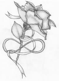 rose and ribbon tattoo designs. Grey Ink Flower With Ribbon Tattoo Design Throughout Rose And Designs