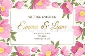 Spring Wedding Event Invitation Card Template. Sakura Anemone Poppy ...
