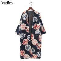 <b>Женщины</b> урожай <b>цветочные</b> свободно кимоно пальто с ...