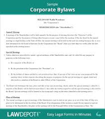Corporate Bylaws Template Us Lawdepot