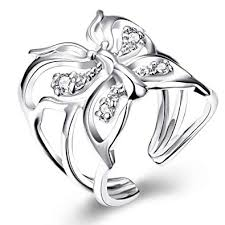 Uk Silver Plated Open Butterfly Ring Size P 1 2 Uk 8 Us Adjustable Open Thumb Ladies Gift Dragonfly