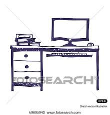 computer desk clipart. Perfect Computer Clipart  Computer Desk Fotosearch Search Clip Art Illustration Murals  Drawings And Intended Desk D