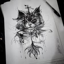 цветной универсальный эскиз тату коты и кошки 351