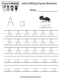 Practice Writing Letters Template Amazing Kindergarten Letter A Writing Practice Worksheet Printable D