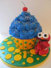 Giant Cupcake Smash Cake Elmo Figurine Cakecentralcom