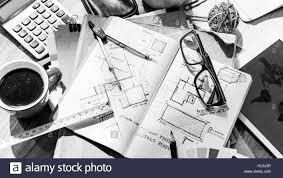 Interior Design Concept Paper Blueprint Architecture Draft Interior Design Concept Stock
