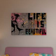 Porch & Den Banksy 'Life is Beautiful' Canvas Wall Art - Free Shipping  Today - Overstock.com - 17840741