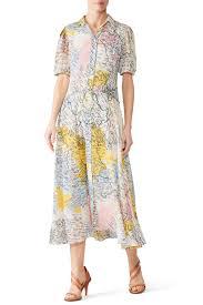 <b>Map</b> Button-Down Midi <b>Dress</b> by Derek Lam 10 Crosby for $110 ...