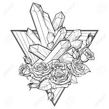 Alchemic Element Of Earth Sign Down Pointing Triangle With Rose