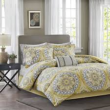 Good Madison Park Essentials Serenity Queen Size Bed Comforter Set Bed In A Bag    Yellow,