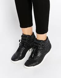 women reebok premium lux leather high top black sneakers black