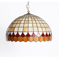 vintage leaded stained glass pendant lamp light fixture geometrics in the style of lamb brothers