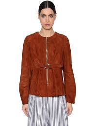 sportmax belted suede jacket brown women clothing leather jackets