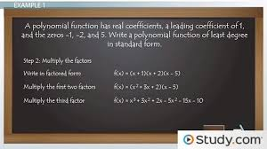 form a polynomial whose real zeros and degree are given using rational complex zeros to write polynomial equations video