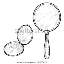 hand held mirror drawing. Hand Mirror Illustration, Drawing, Engraving, Ink, Line Art, Vector Hand Held Drawing