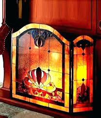 stained glass fireplace screens stained glass fire screen pattern