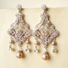 rose gold bridal earrings art deco wedding earrings rose gold crystal earrings bridal jewelry chandelier earrings amelia by treasures570 on et