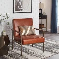 clay alder home retro steel tan leather armchair