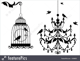 bird vintage birdcage and crystal chandelier with birds vector background