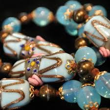 1940s venetian murano necklace wedding cake beads opalite art gl