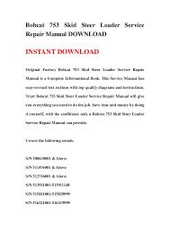 bobcat 753 wiring diagram manual bobcat image bobcat 753 skid steer loader service repair manual on bobcat 753 wiring diagram manual