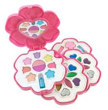 makeup kit for little girls. petite girls flower shaped cosmetics play set - fashion makeup kit for kids by little