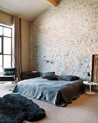 exposed brick bedroom design ideas. Rustic Brick Wall Ideas For Unique Bedroom Design And Black Wool Rug Exposed
